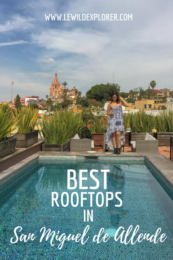 rooftop pool view san miguel de allende woman drinking margarita