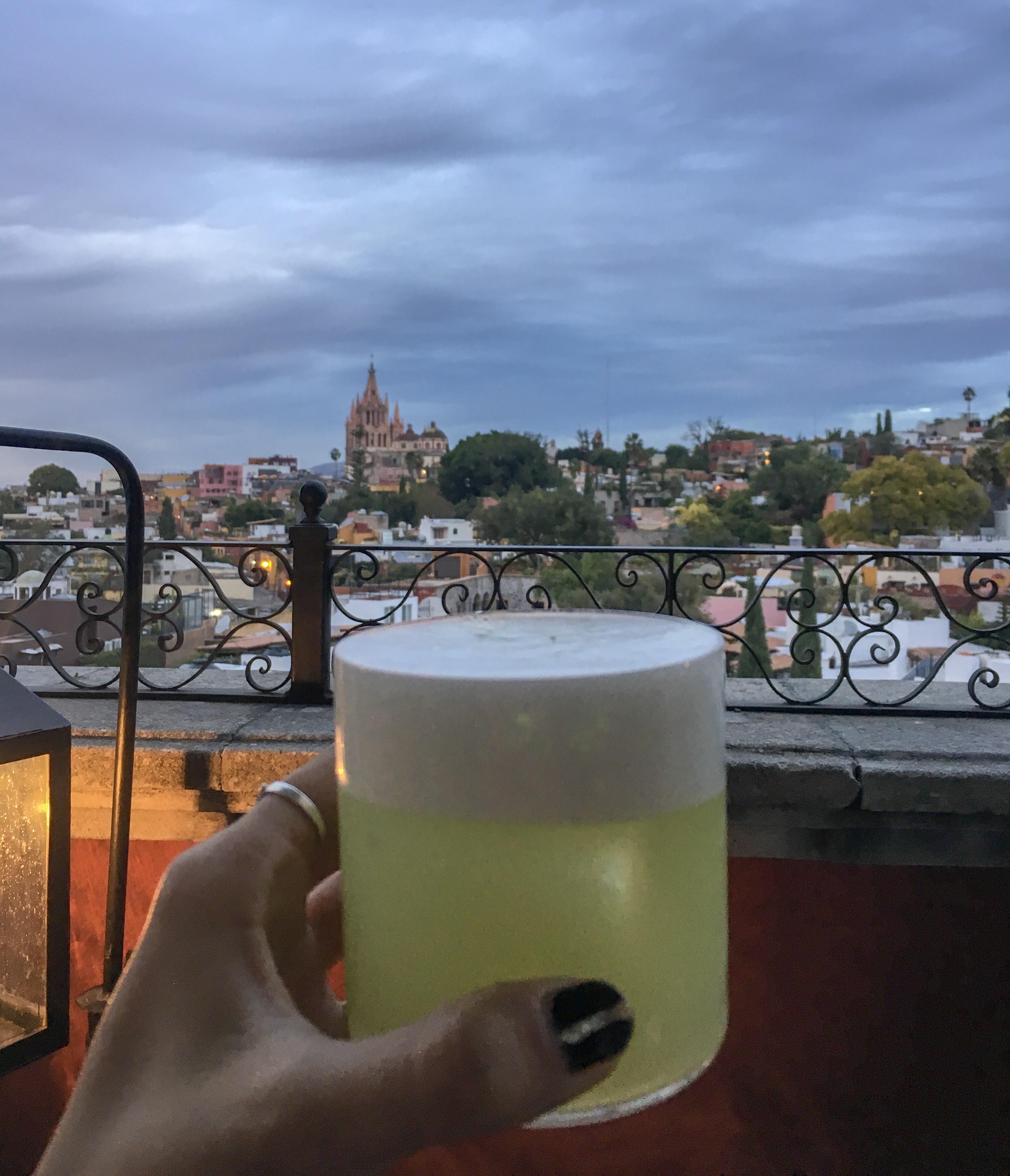 cocktail city view san miguel de allende rooftop bar