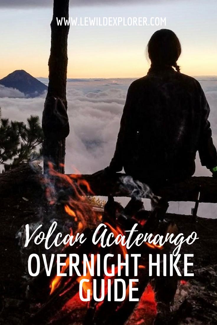 girl campfire volcano hiking
