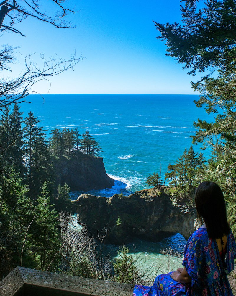 woman at viewpoint at samuel h boardman state park