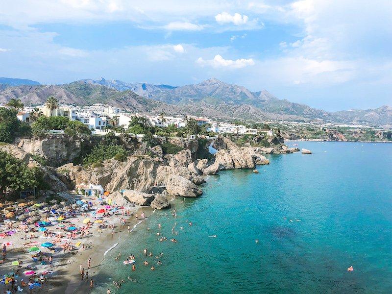 view of nerja beach spain
