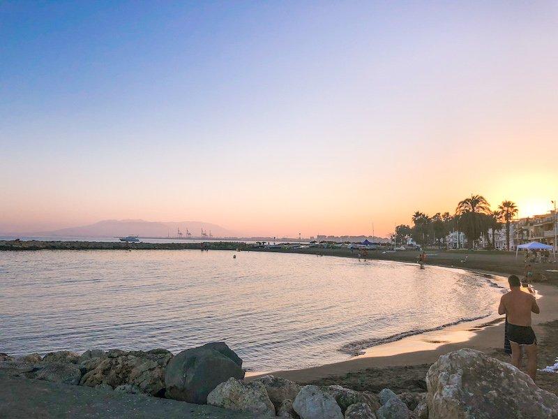 sunset at beach in malaga