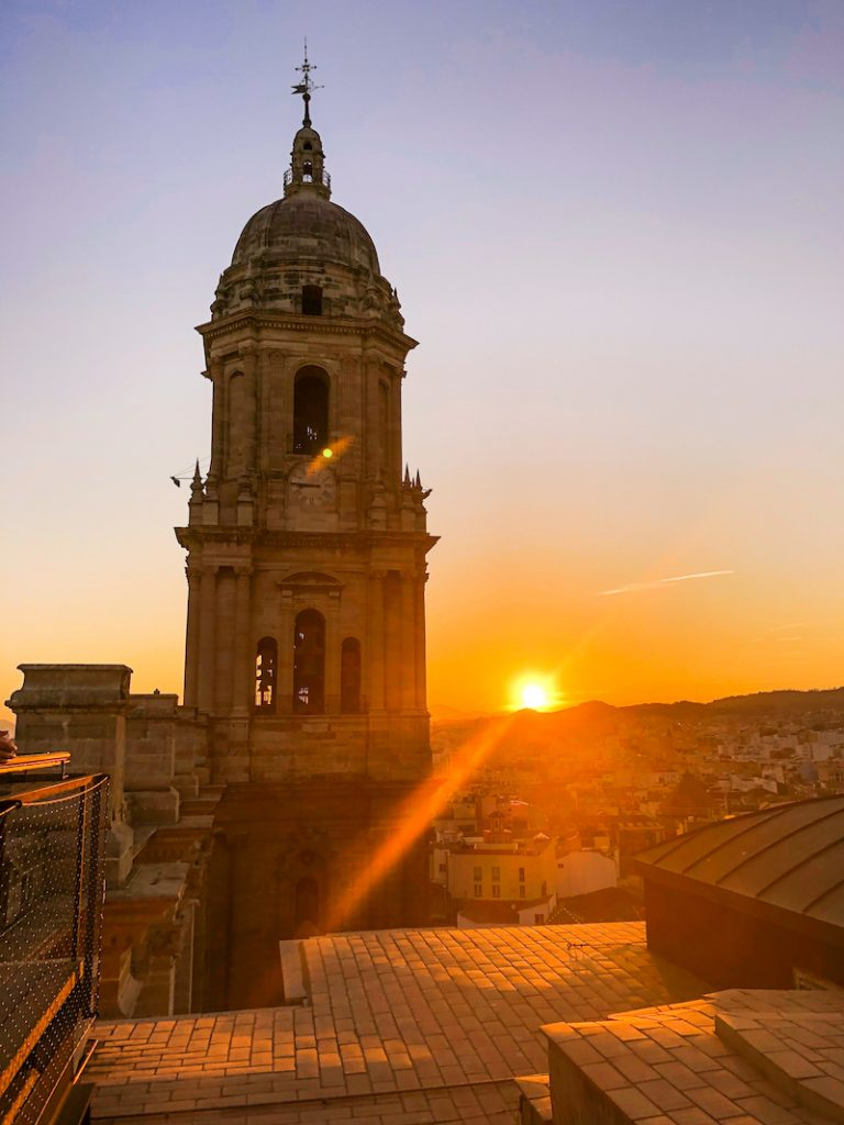 malaga cathedral rooftop at sunset