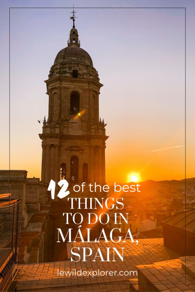 malaga cathedral at sunset