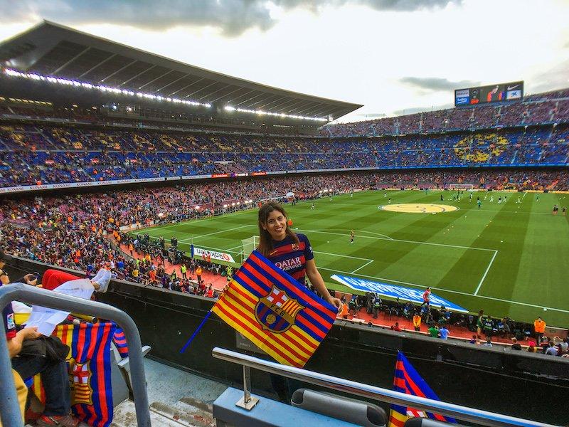 woman at fc barcelona game camp nou barcelona