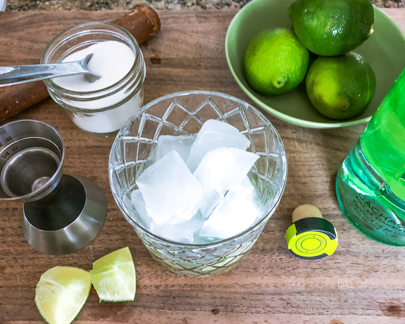 cachaca lime and sugar for Caipirinha
