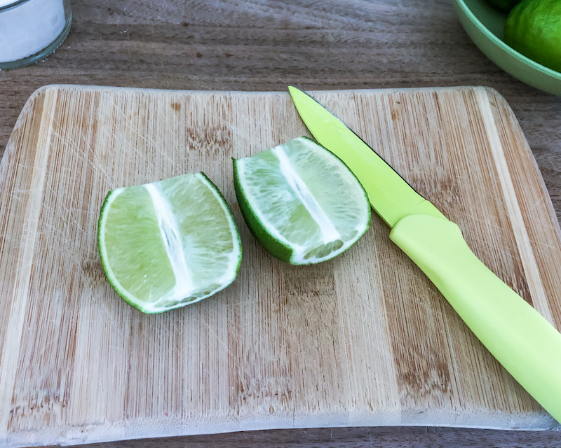 cut lime in half Caipirinha