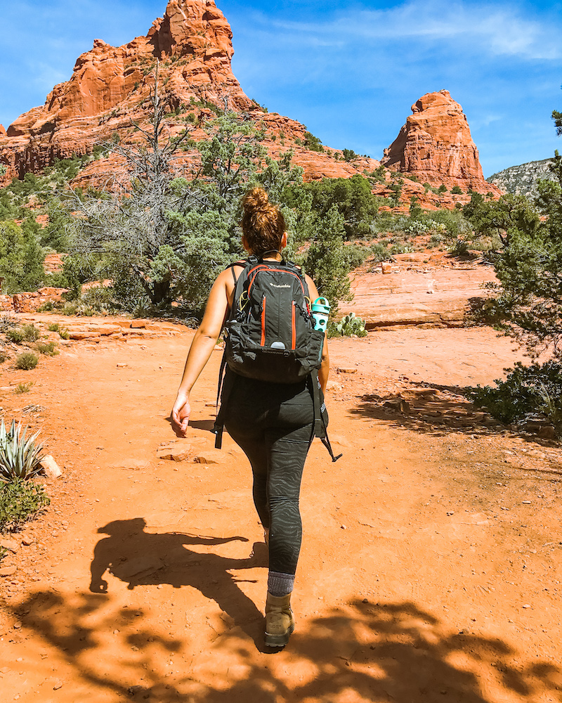 woman hiking sedona