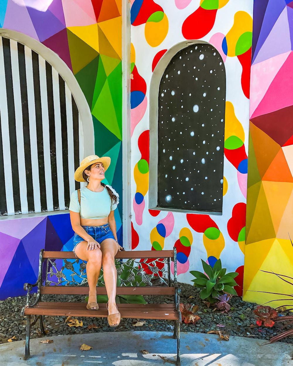 woman at art a fair entrance laguna beach