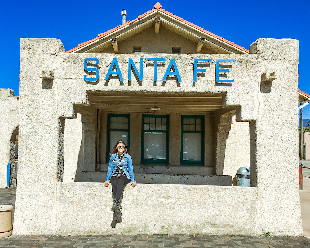 woman at santa fe railway new mexico