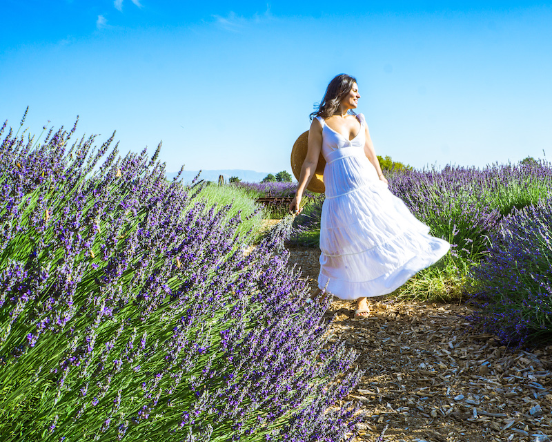 woman twirling in white dress lavender farm