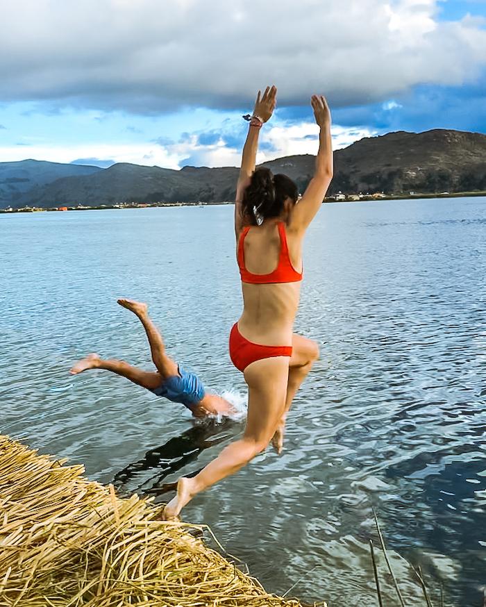swimming lake titicaca
