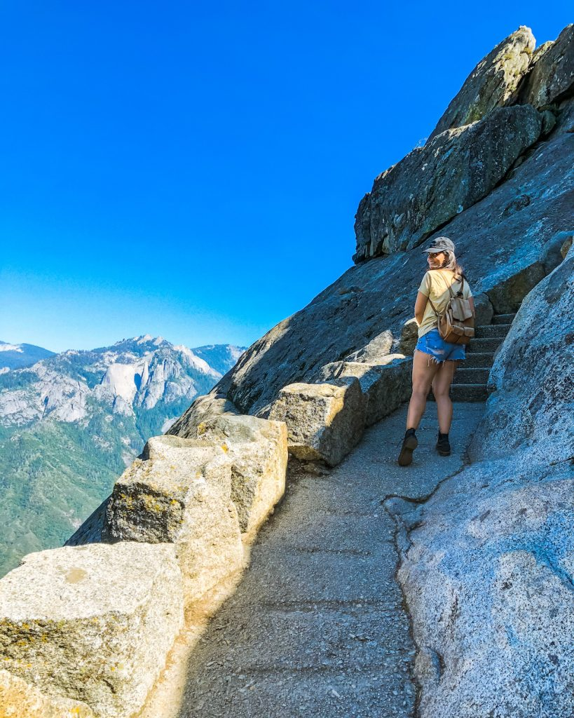 woman hiking moro rock trail sequoia national park