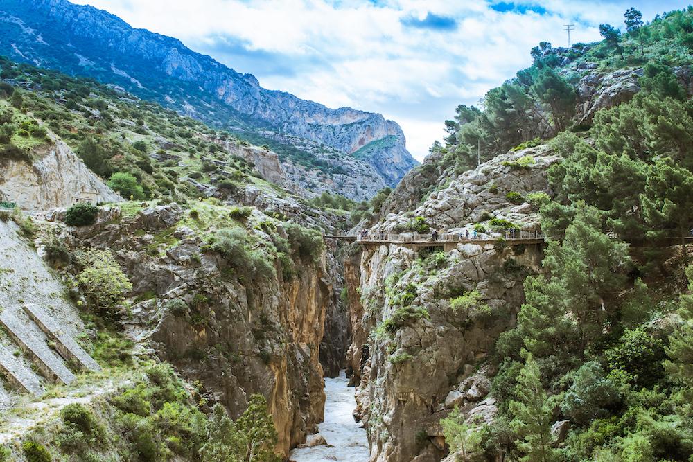 caminito del rey blue skies river greenery