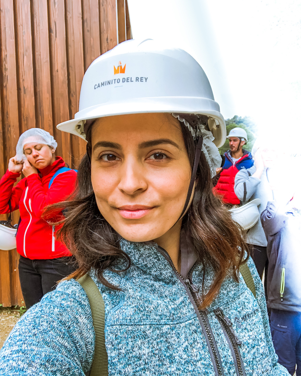woman hiker wearing hard hat caminito del rey