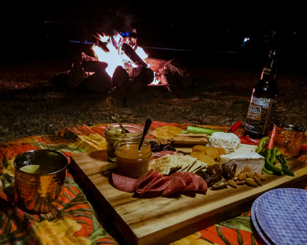 campfire and charcuterie board