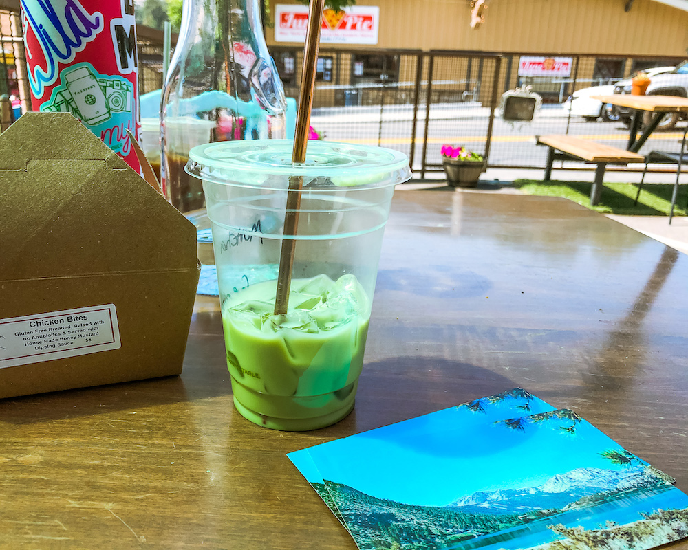 matcha latte and snacks the lift june lake