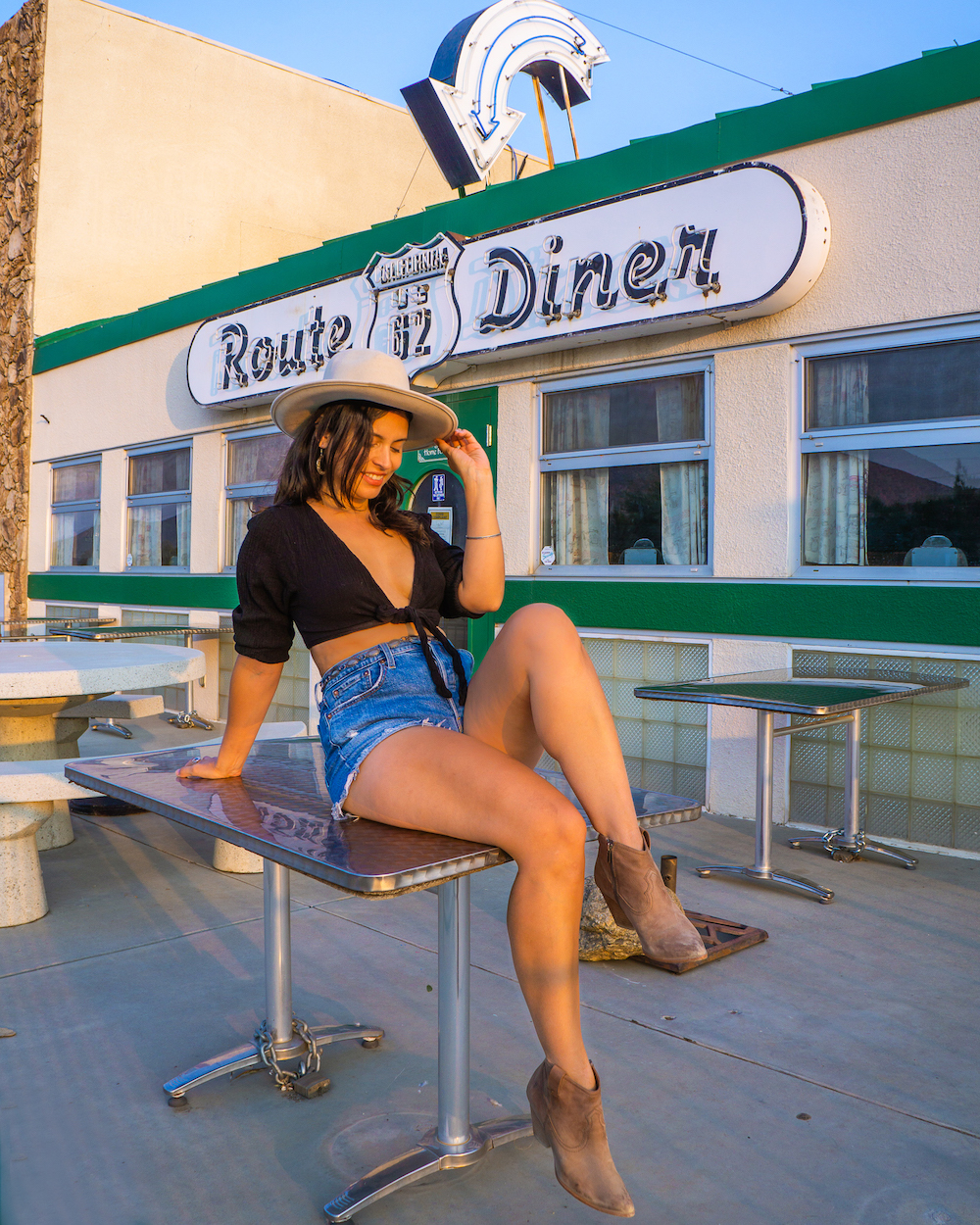 woman at carlas route 62 diner