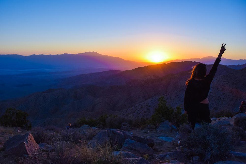 woman at keys view joshua tree sunset