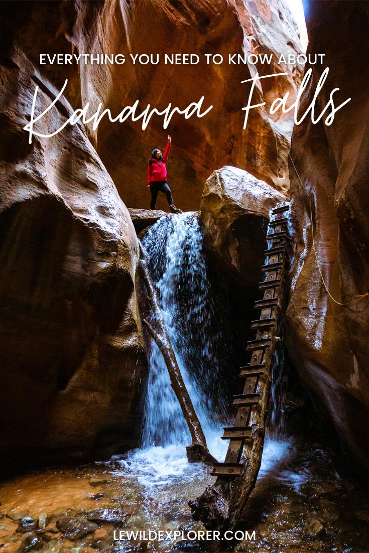 woman hiking Kanarraville Falls Hike in Utah guide kanarra creek canyon