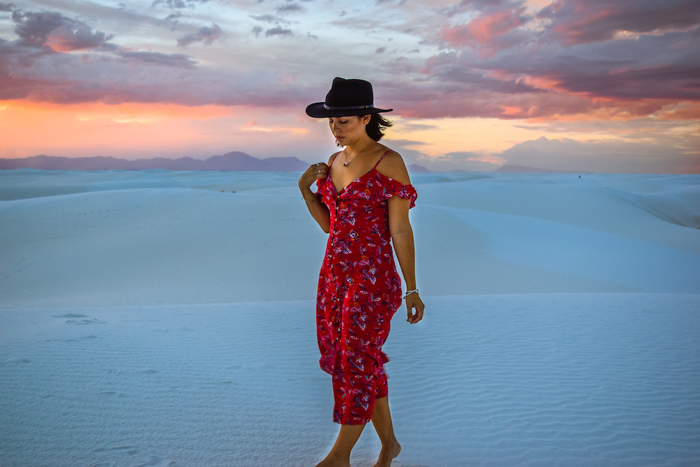 woman at white sands new mexico
