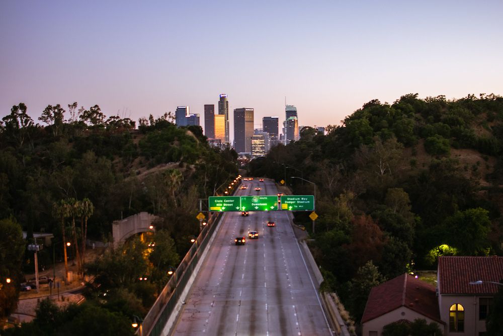 110 freeway overpass los angeles skyline view