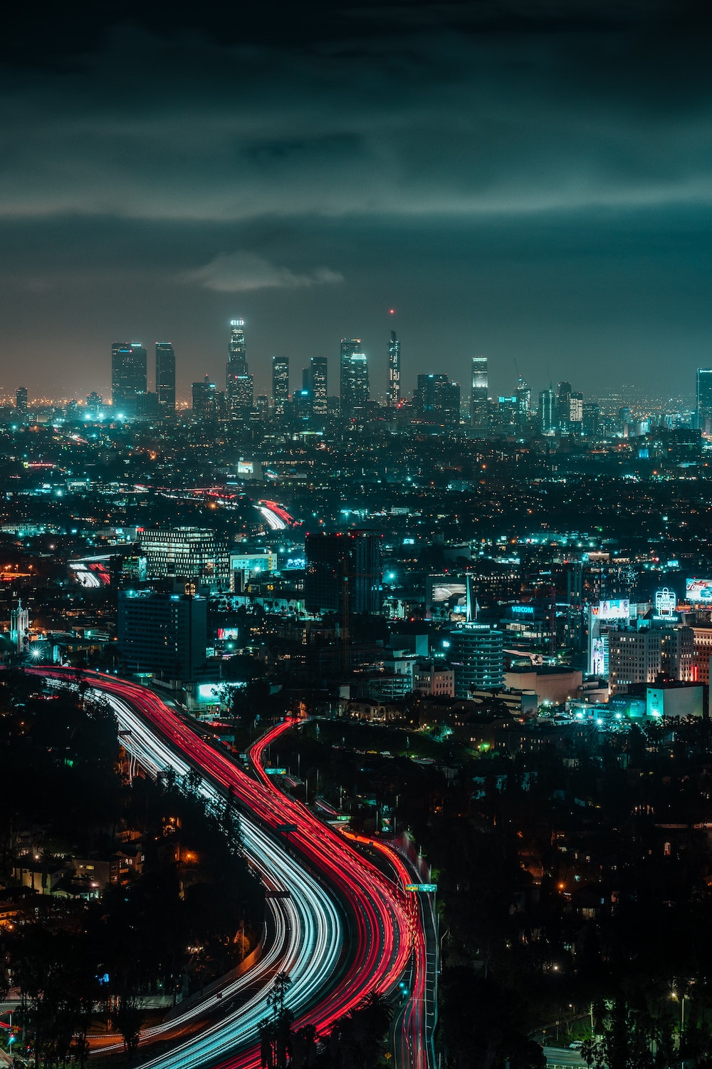 Los Angeles Skyline at Night Mulholland Drive Overlook