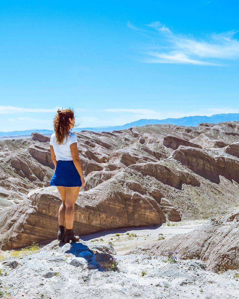 woman at anza borrego desert mountains