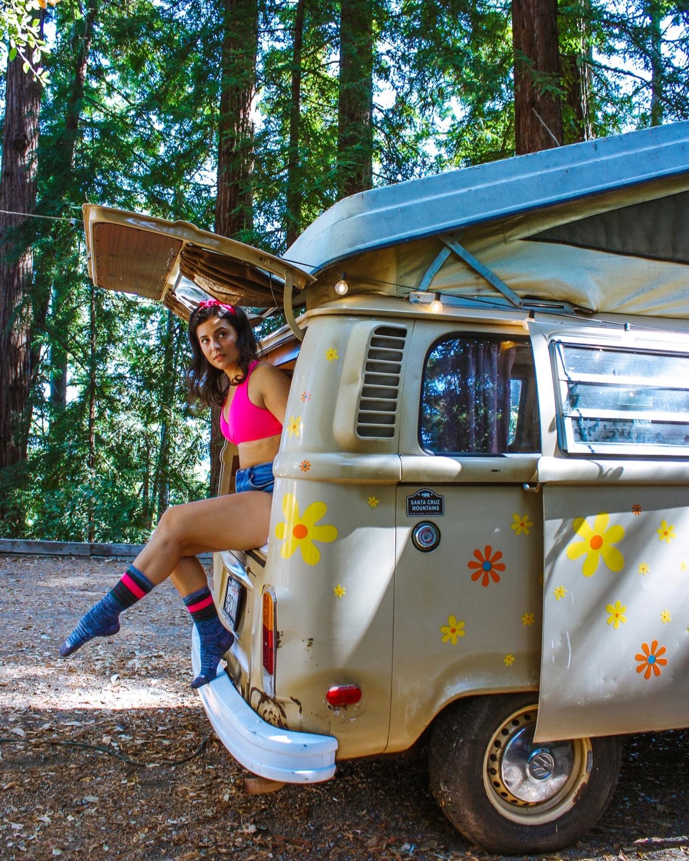 bombas sponsored post woman in VW camper van wearing socks