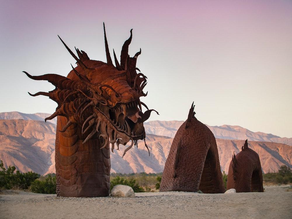 dragon art installation at Galleta Meadows Sculptures in borrego-springs near anza borrego