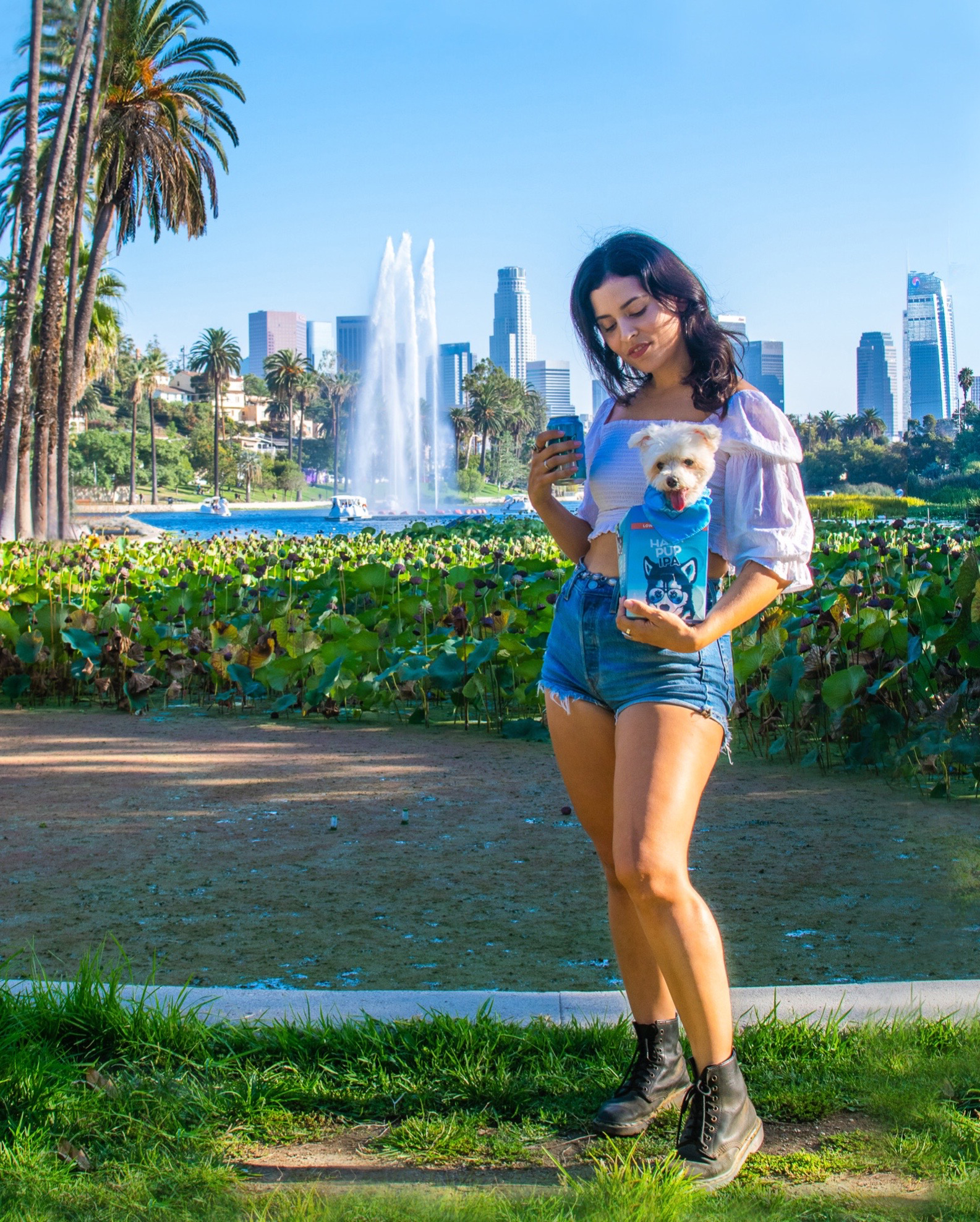 golden road brewing hazy pup IPA sponsored post woman with dog at echo park lake