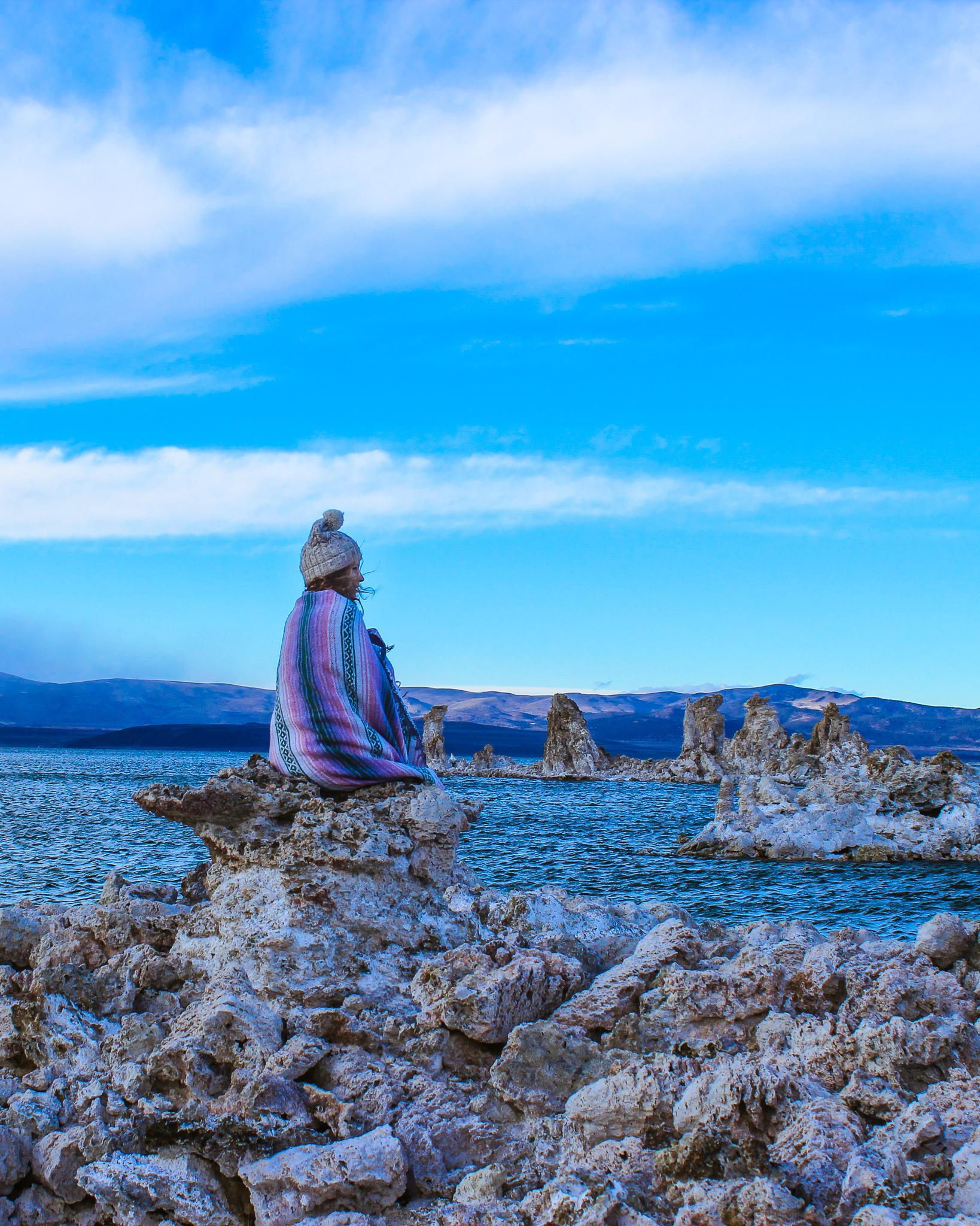 woman at mono lake south tufa towers