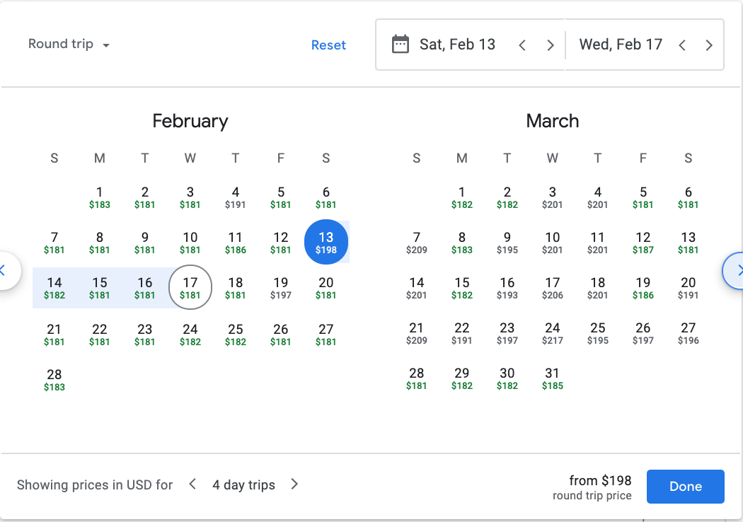 flight calendar with various prices