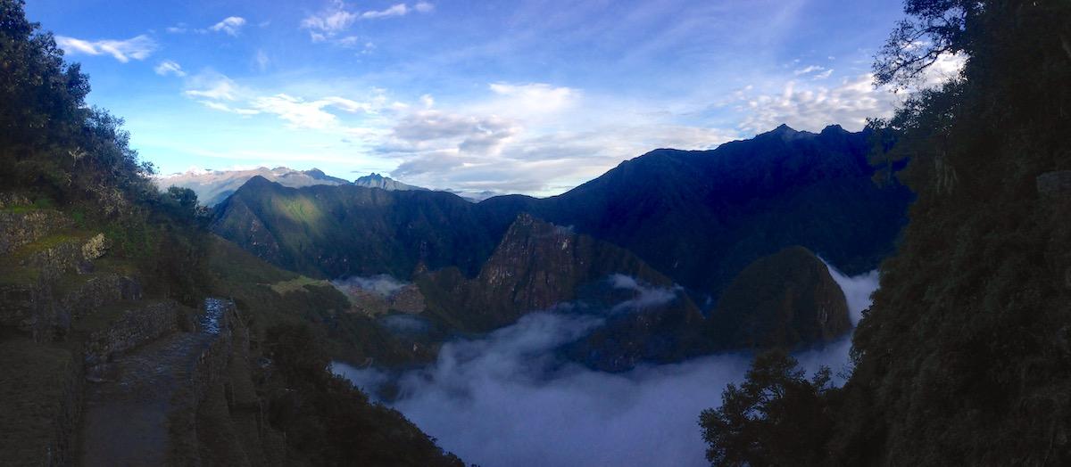 foggy morning view at machu picchu