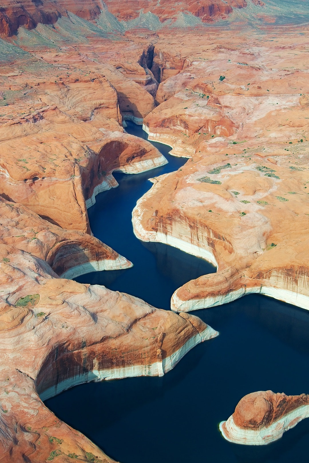 lake powell from above aerial view