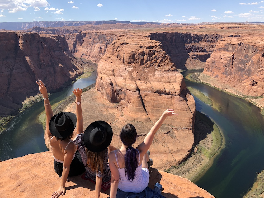 three woman at horseshoe bend in things to do in page az