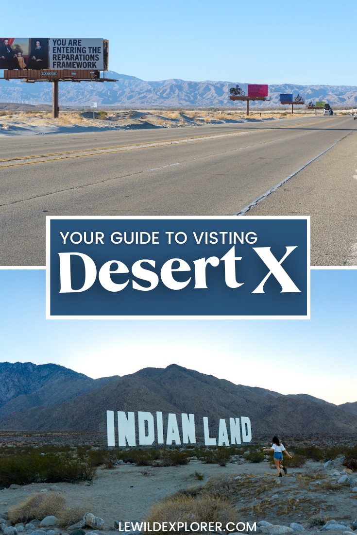 desert x 2021 art Indian land sign art installation and billboards along highway in palm springs