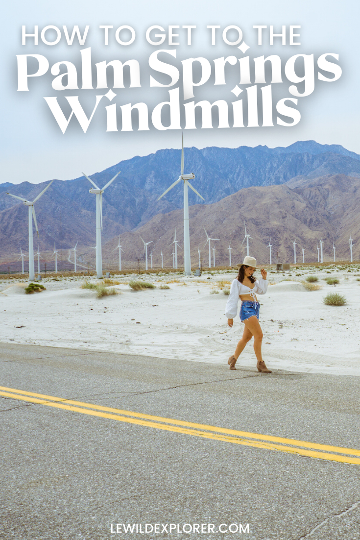 woman in white at palm springs windmills