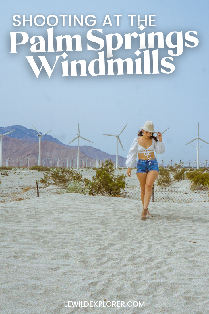 woman shooting at the palm springs windmills photography