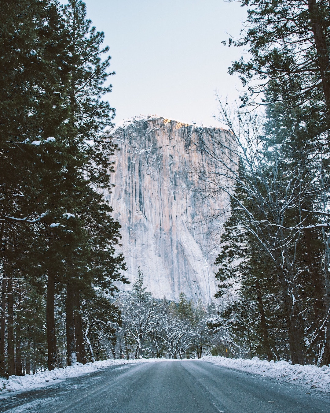 winter in yosmite national park with view of el capitan