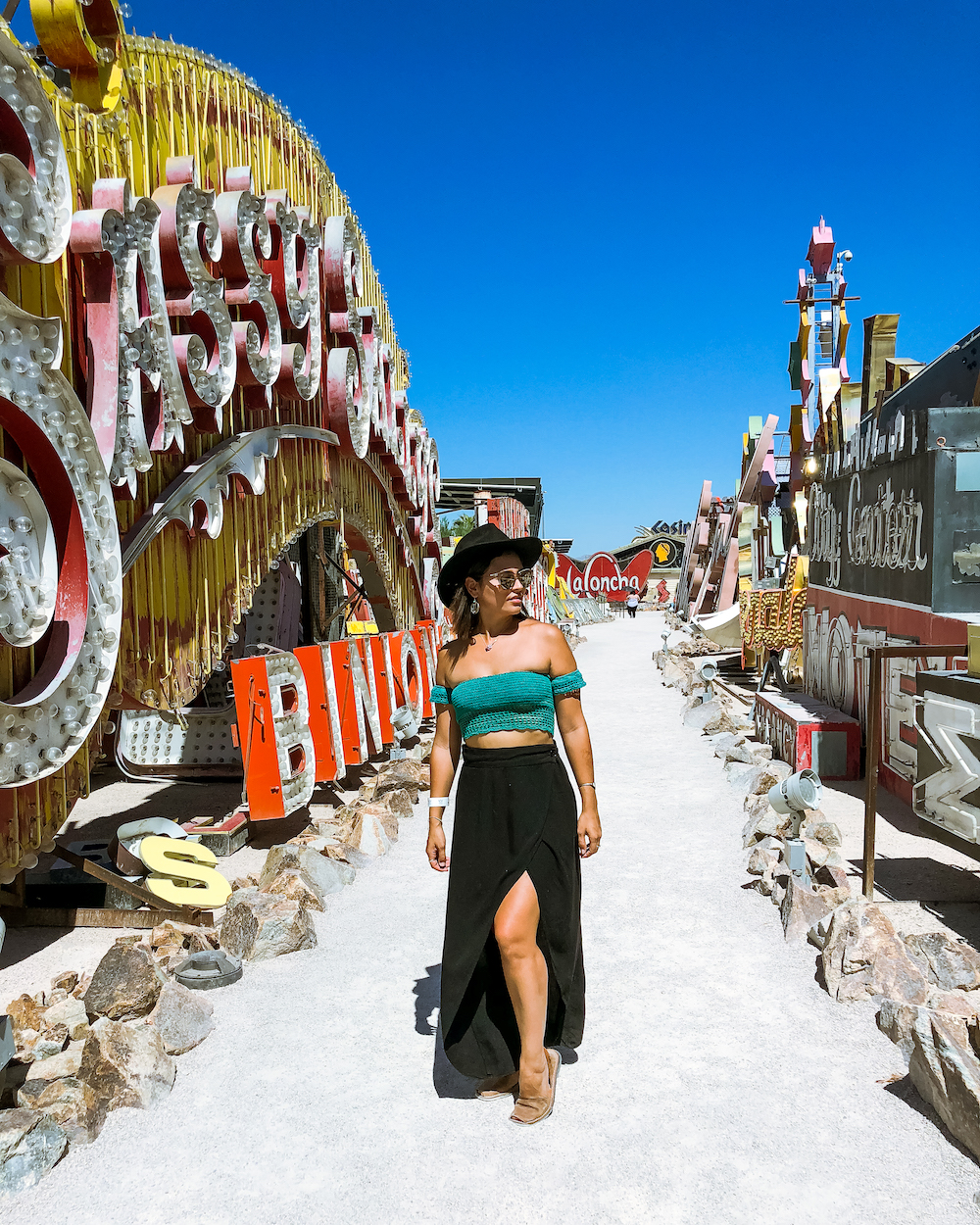 woman at the neon museum in las vegas nevada