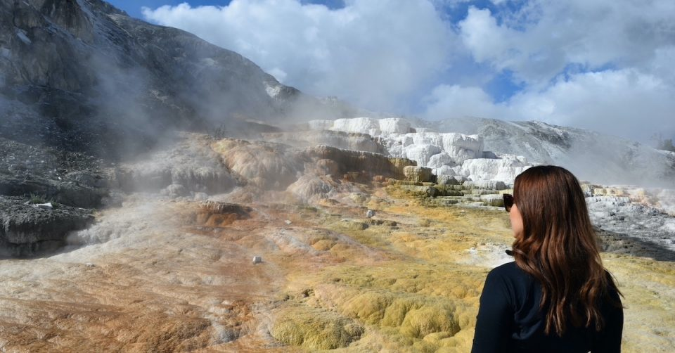 woman at yellowstone national park mammoth hot springs