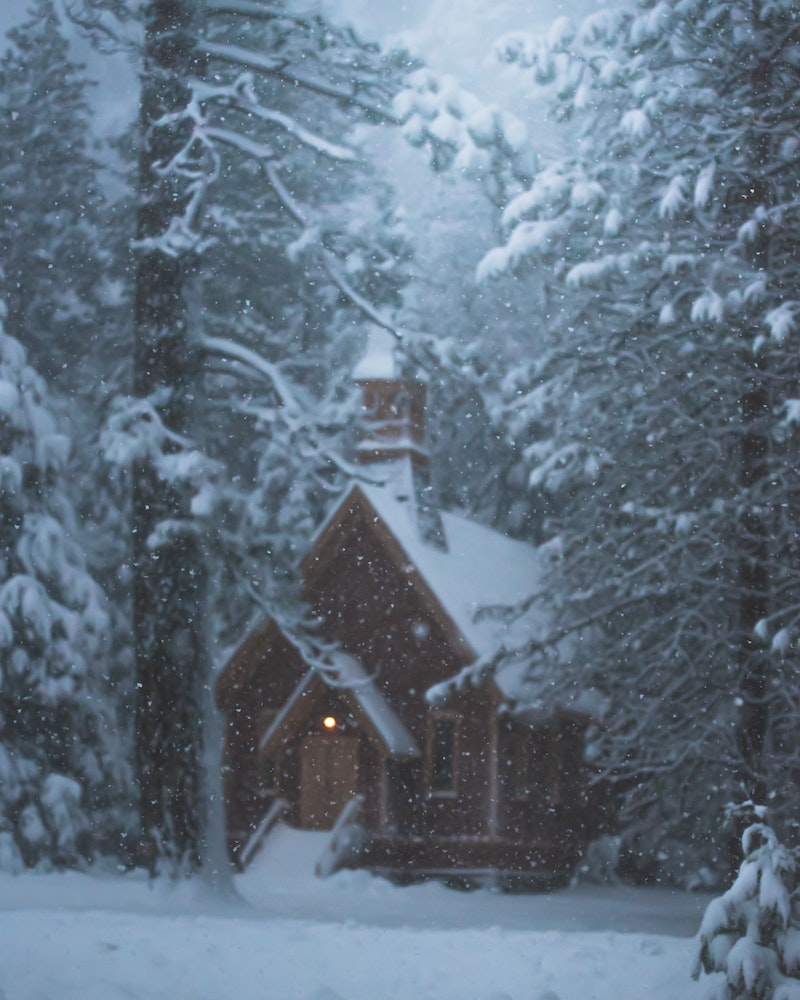 yosemite valley chapel with snow in winter
