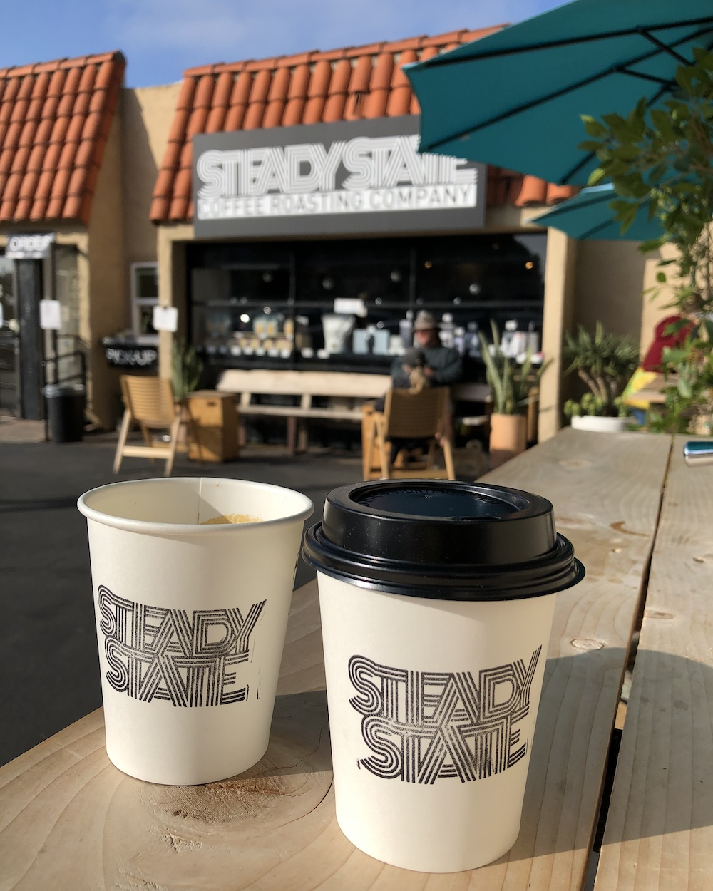 two cups of to go coffee at steady state roasting co