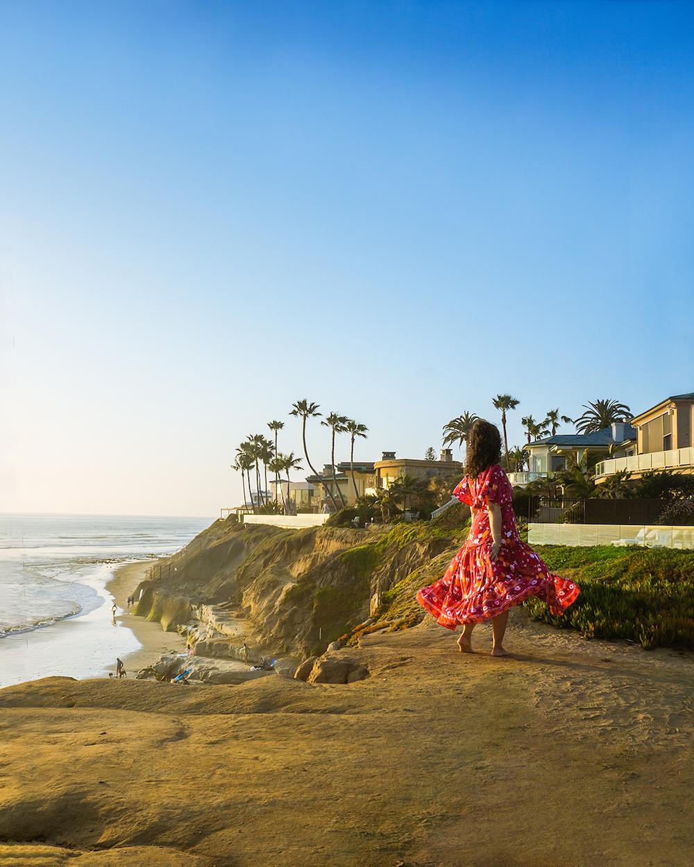 woman at Terramar Beach carlsbad california sunset