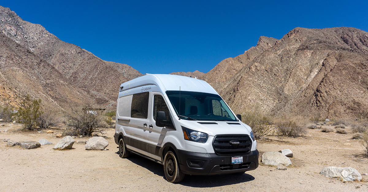 campervan parked at desert campground
