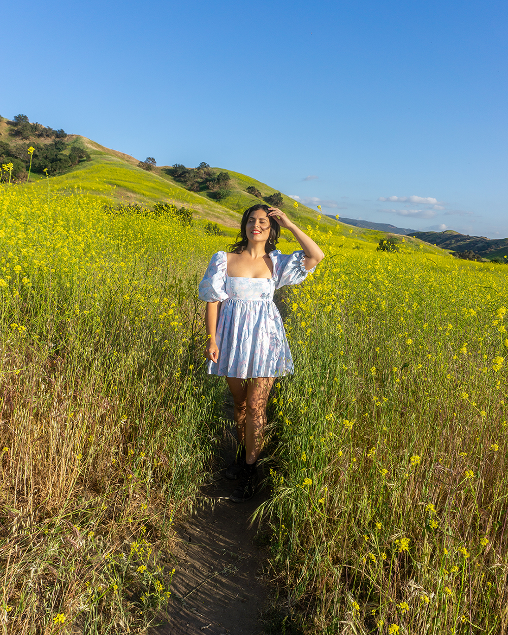 woman at chino hills superbloom yellow wildflowers