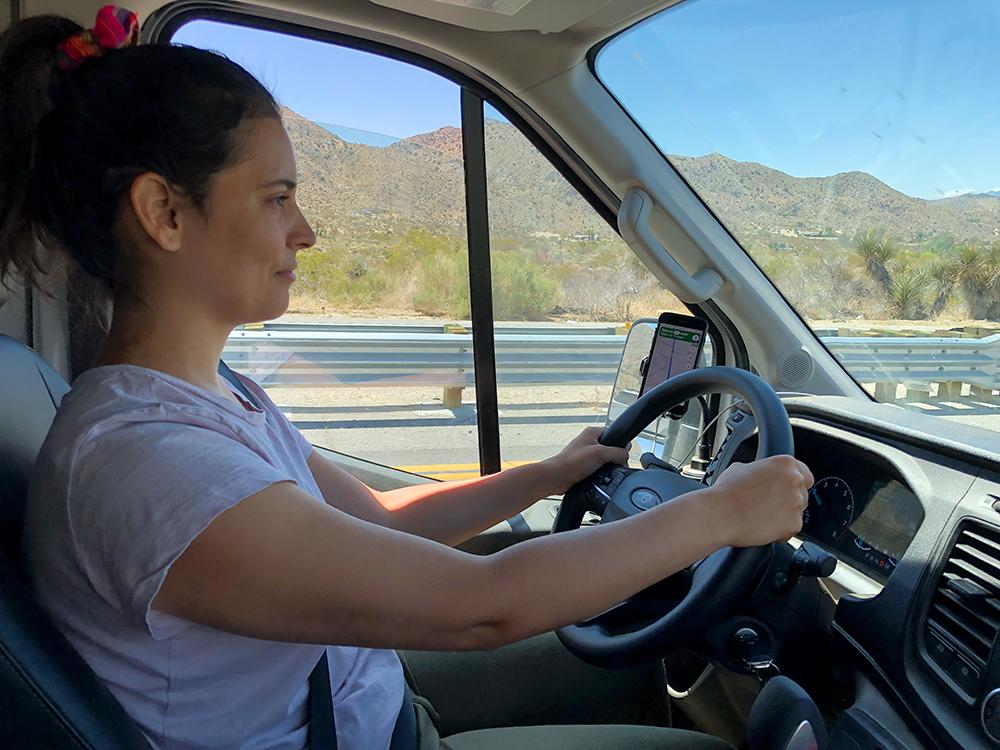 driving a campervan desert california