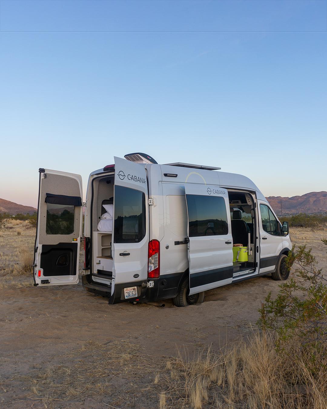 ford campervan with doors open