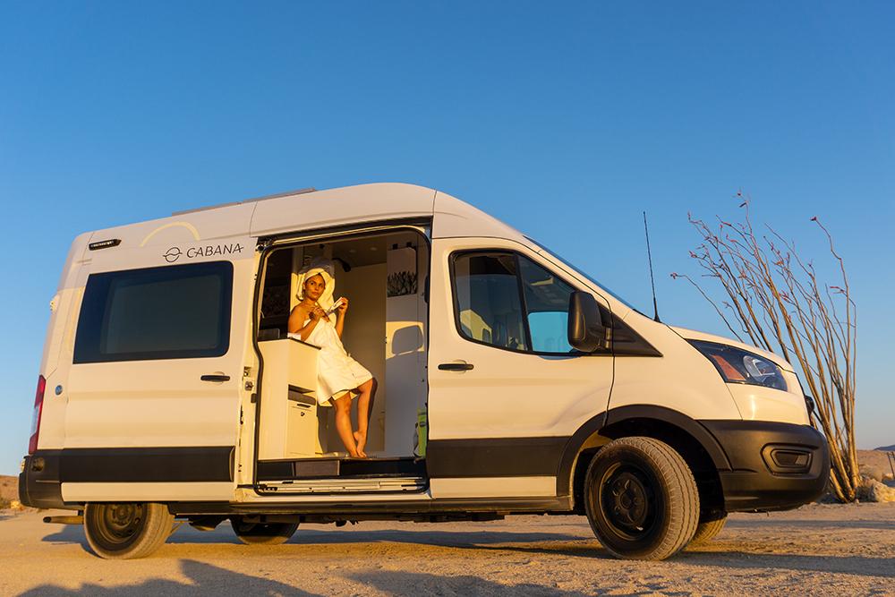 getting ready inside van life rental